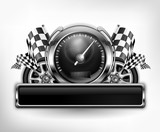 Racing emblem speedometer on white