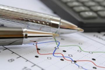 Pens and calculator