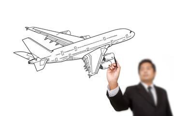 Businessman Drawing Airplane