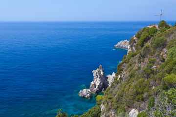 View of the bay of Paleokastritsa on Corfu