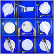 Collage of forks,knifes, plates, spoons on blue.