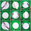 Collage- forks,knifes,spoons on green background.