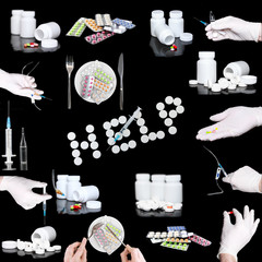 Collage of medicine- pills,bottle, syringe.