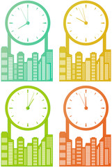 city skyscraper with clock - world stock time