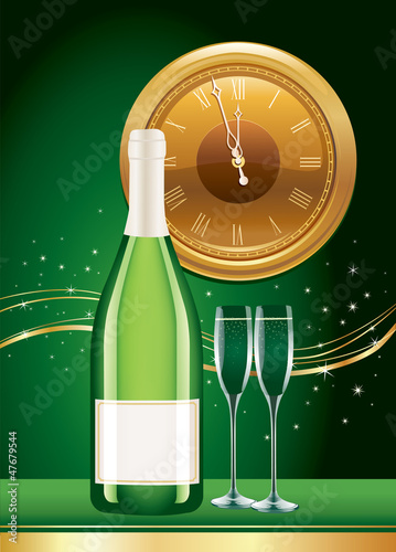 new year champagne and clock face