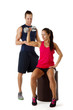 Personal trainer dumbbell lifting