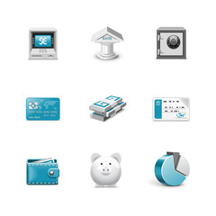 Bank icons. Azzurro series