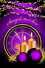 Vector purple christmas background with candles and clock