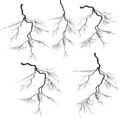 five black lightnings isolated on white