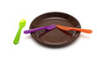 colored cutlery and a plate