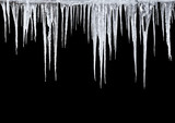 Icicles on a black background