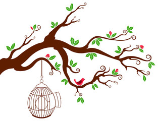 Tree Branch with bird cage and beautiful birds
