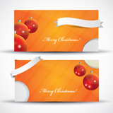 Orange Christmas card or invitation with label