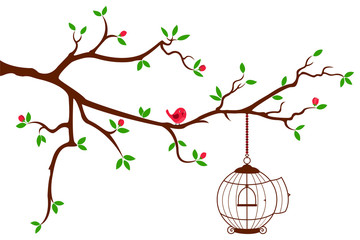Tree Branch with rounded bird cage