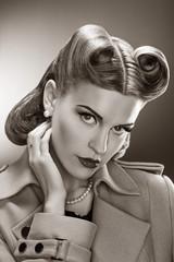 Retro Woman - Black and White Romantic Portrait