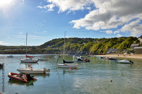 View of boats in New Quay harbour, Wales.