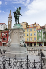Giuseppe Tartini statue in Tartini Square, the largest and main