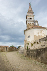 Alley near Saint George's Parish Church in Piran, Slovenia