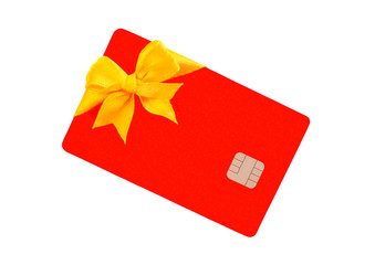 Red Bank card with golden bow
