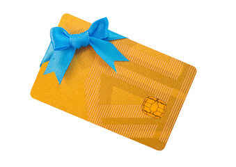 Gold bank card with blue bow