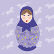 poupee russe violette et jaune fond