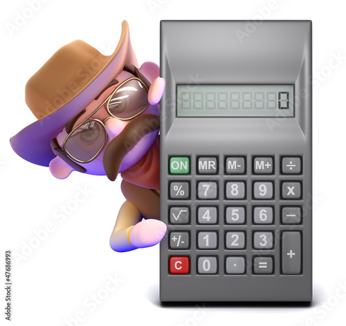 Cowboy leans out from behind calculator