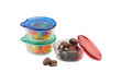Three colors of glass bowl with plastic lid for storage food