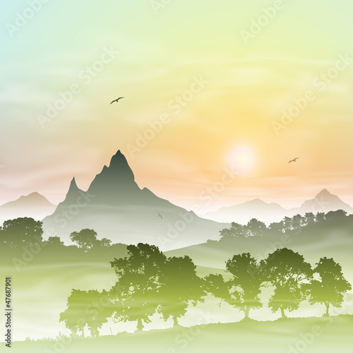 A Misty Forest Landscape with Mountains and Sunset, Sunrise