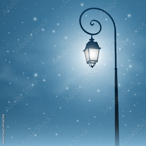 An Old Street Light with Night Sky and Stars