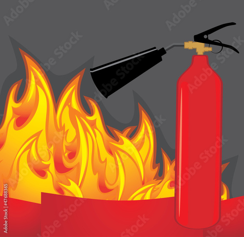 Extinguisher on the fiery background
