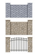 brick and stone fence set of vector illustration EPS10.