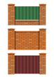 brick fence set of vector illustration EPS10. Transparent