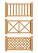 wooden fence set of vector illustration EPS10. Transparent