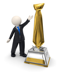 3d business man and gold tie trophy award icon