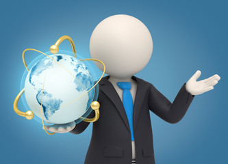 3d business man holding an atomic earth globe