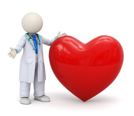 3d doctor with a big red heart icon