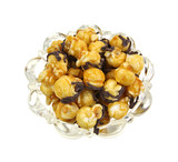 Caramel chocolate popcorn in bowl