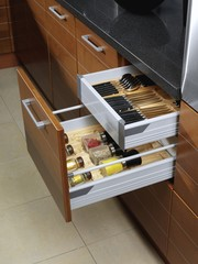 Open kitchen drawers
