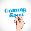 Comming Soon word in hand stock vector