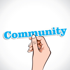Community  word in hand stock vector