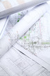 Close up of architectural drawings