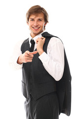 Handsome man in a suit pointing at you
