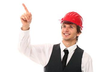 Young man in red helmet showing gesture