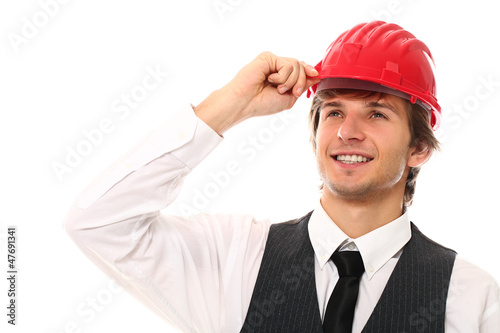 Young and handsome man in red helmet portrait