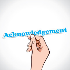 Acknowledgement word in hand stock vector