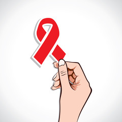 Aids sign  in hand stock vector