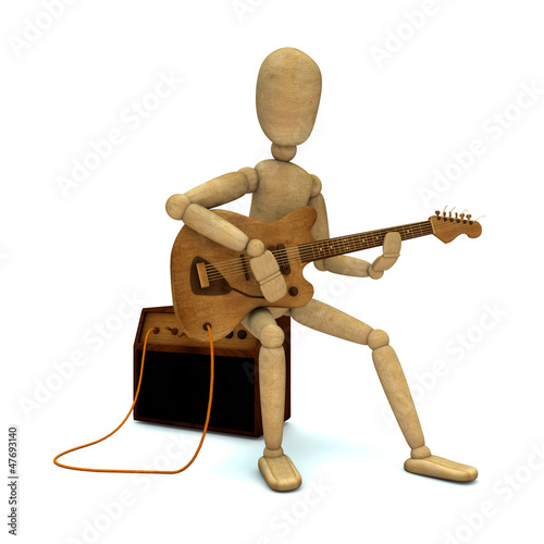 Dummy plays electric guitar