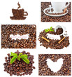 Set of images of coffee beans and abstractions.