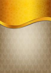 Abstract brown celebration paper with golden ribbon