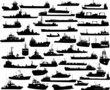 Set of 44 silhouettes of sea ships